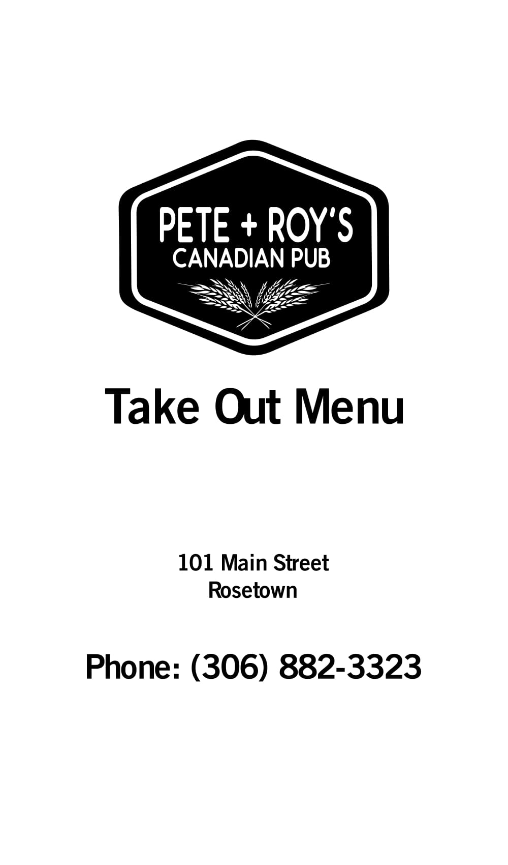 Pete & Roy's Canadian Pub menu